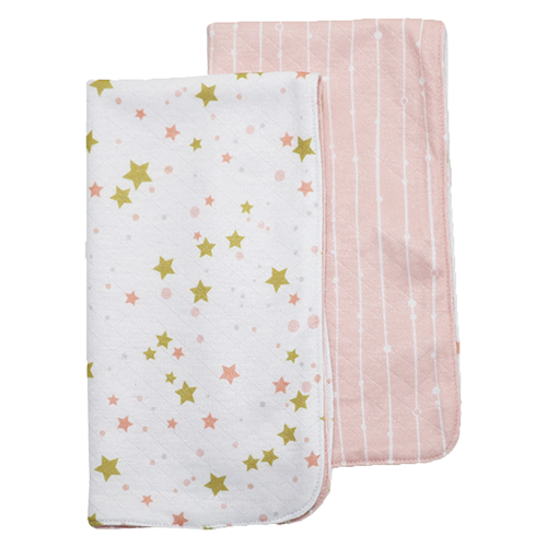Bumblito Burp Cloth Set of 2 Pink Stripe Lullaby