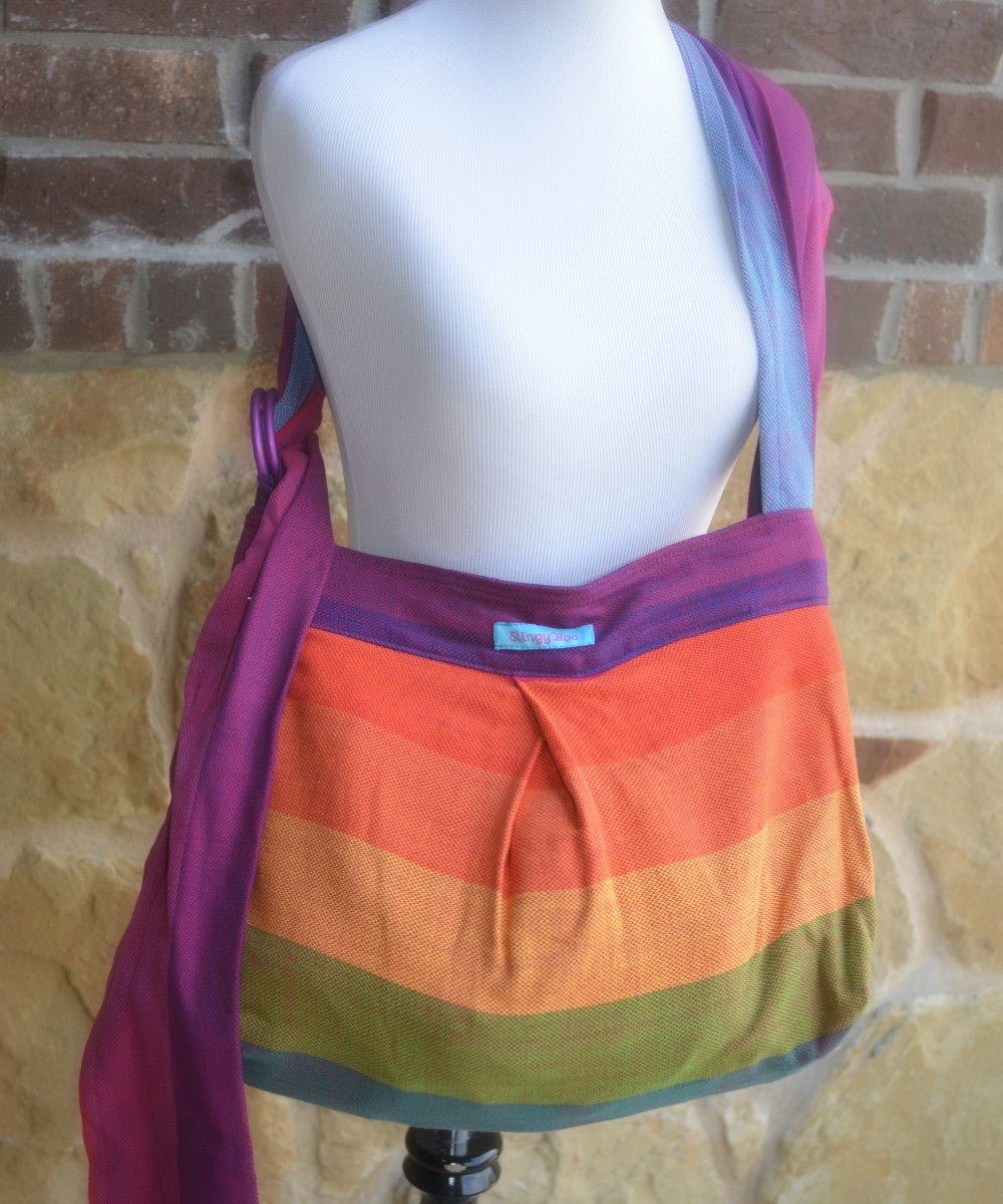 Wompat Slingyroo Earthy Rainbow Herringbone Wrap Conversion Bag (PURPLE)