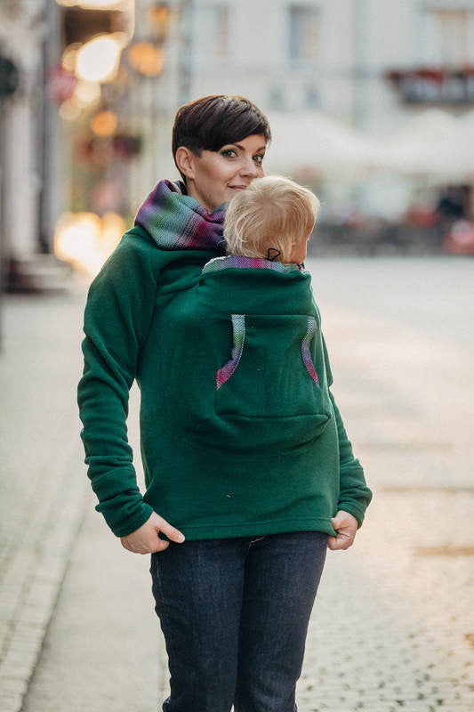 Lenny Lamb Little Herringbone Impression Dark Green Fleece Sweatshirt