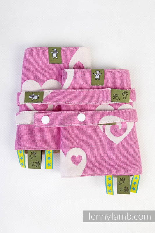 Lenny Lamb Drool Pads and Reach Straps Set Sweetheart Pink & Creme