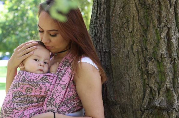 Yaro Ava ultra Pink Brown Glam Babywearing Wrap (glitter blend)