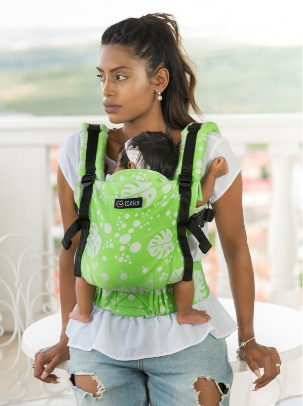 Isara V3 Philodendra Lime Wrap Conversion Soft Structured Carrier babywearing ssc full buckle