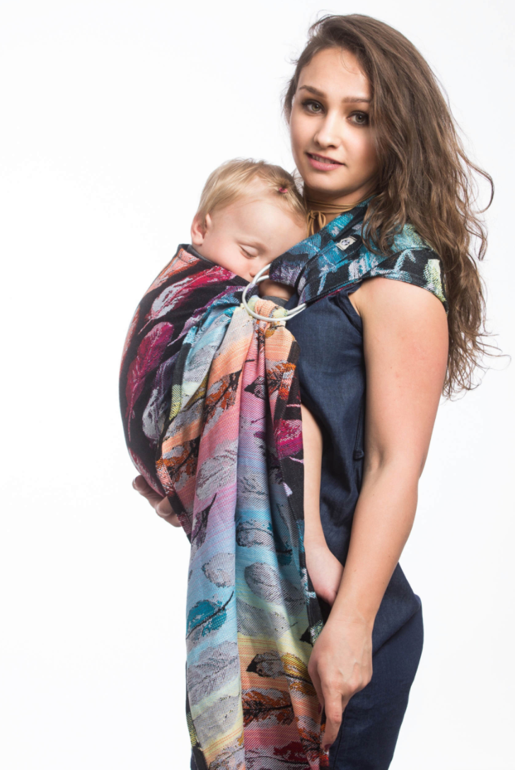 d8cd907405c ... Lenny Lamb Painted Feathers Rainbow Dark Ring Sling Pleated Shoulder
