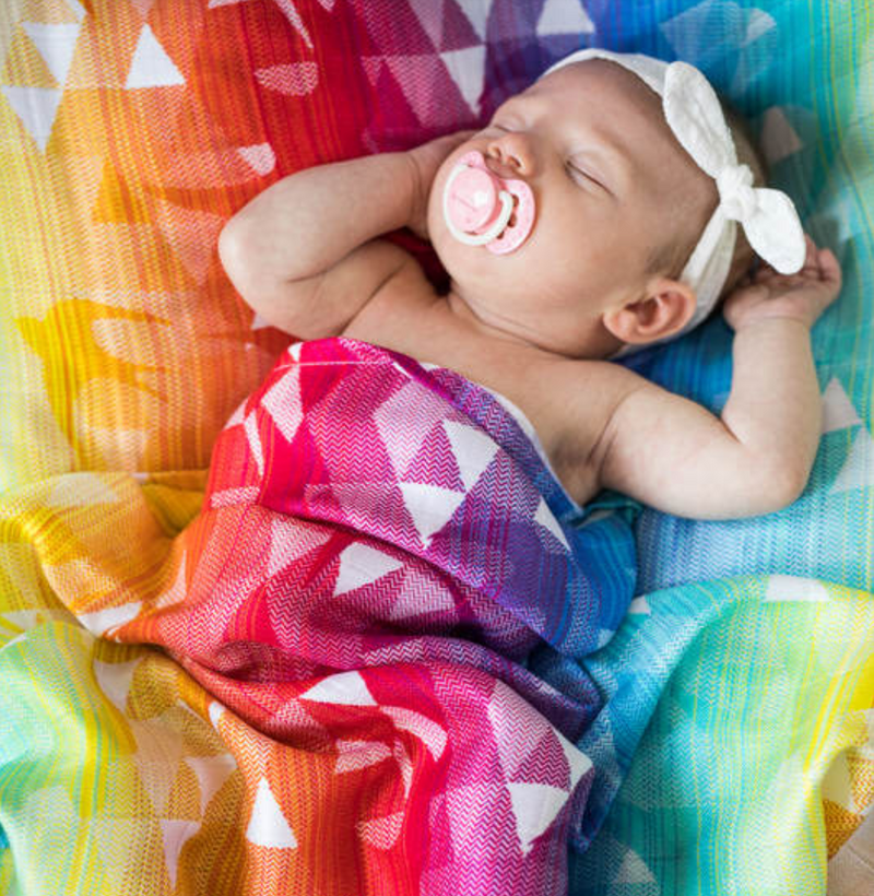 Lenny Lamb Swallows Rainbow Light Swaddle Wrap Blanket