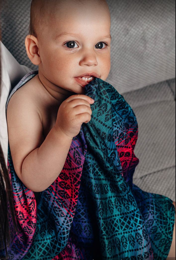 Lenny Lamb Peacocks Tail Black Opal Swaddle Maxi Large Blanket