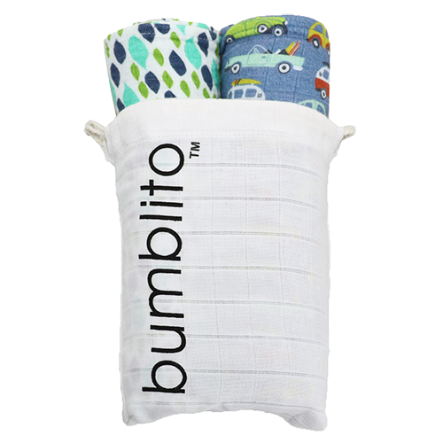 Bumblito Organic Swaddle 2 Pack Water Drops SoCal