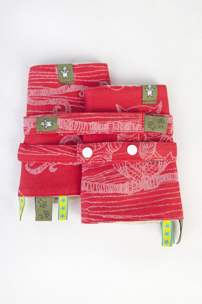 Lenny Lamb Drool Pads and Reach Straps Set Owls Red