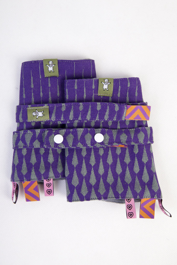 Lenny Lamb Drool Pads and Reach Straps Set Icicles Purple and Green