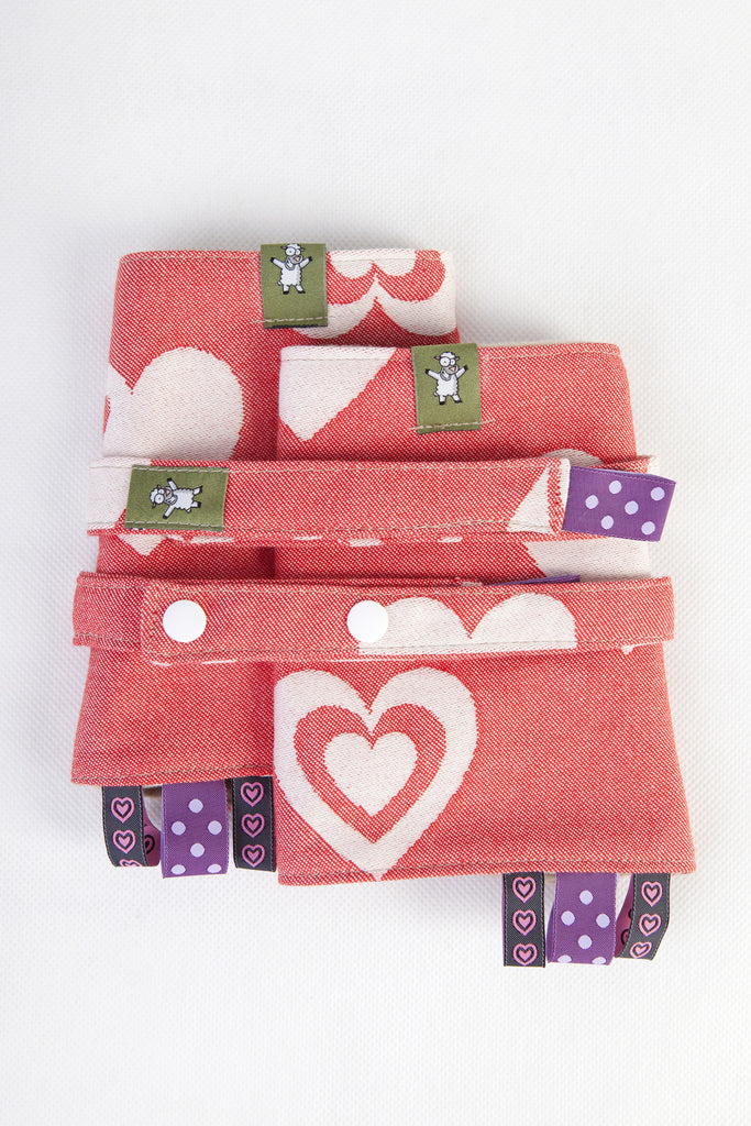 Lenny Lamb Drool Pads and Reach Straps Set Sweetheart Coral and Cream