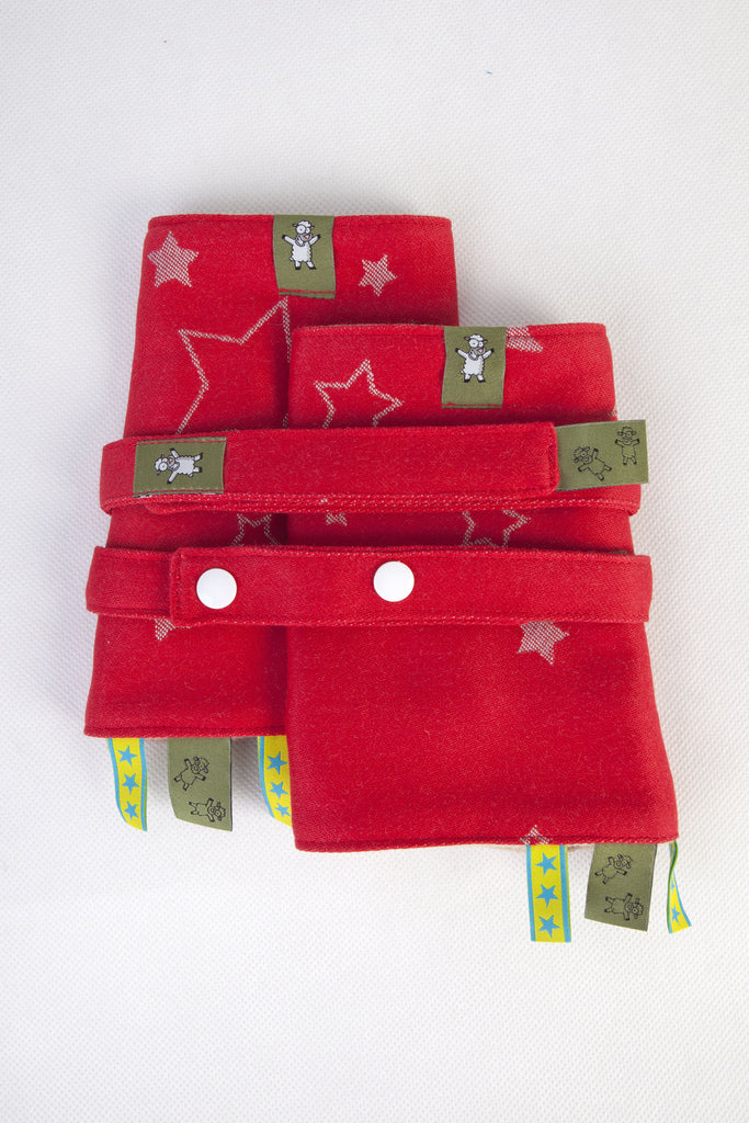 Lenny Lamb Drool Pads and Reach Straps Set Stars Red