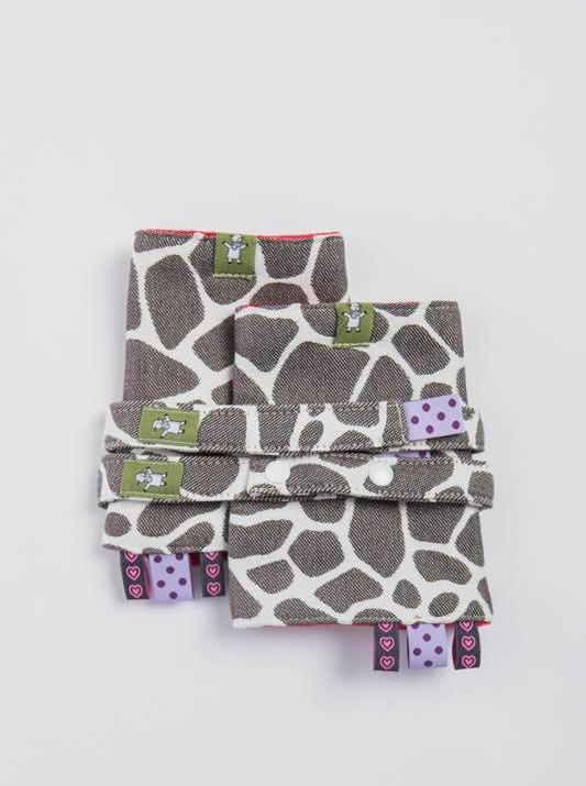 Lenny Lamb Giraffe Brown and Creme Drool Pads and Reach Straps Set