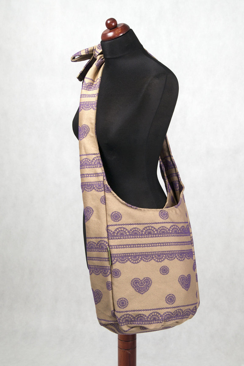 Lenny Lamb Hobo bag Lace Beige and Purple