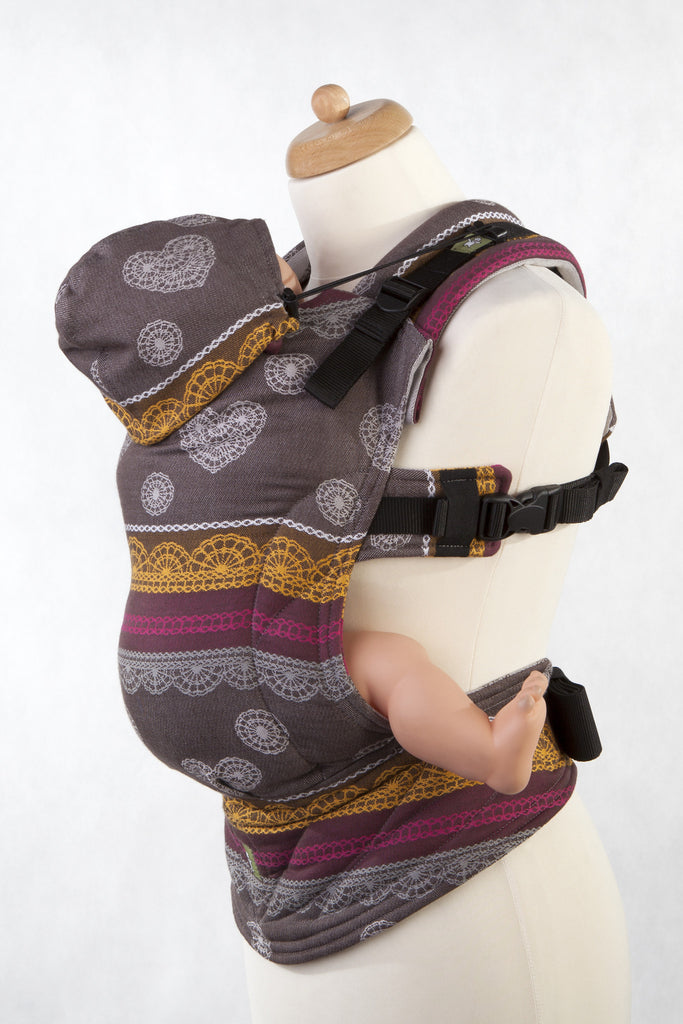 Lenny Lamb Ergonomic Full Buckle Carrier COFFEE LACE (cotton) REVERSE