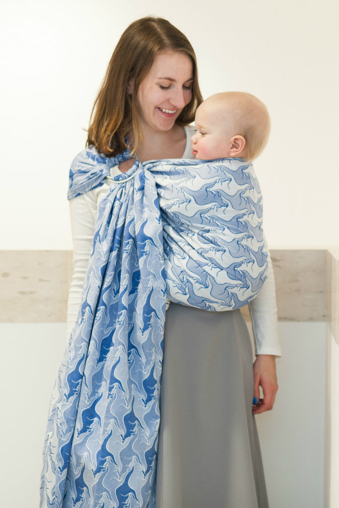 Lenny Lamb Blue Two Roos (cotton) Ring Sling