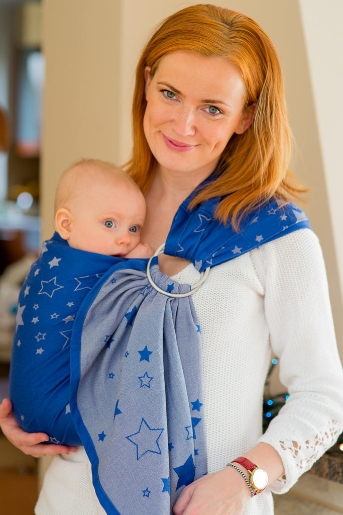 Lenny Lamb STARS Blue GRAY Ring Sling (cotton)
