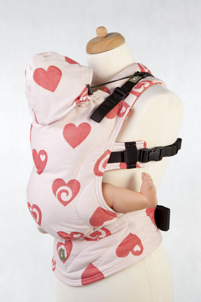 Lenny Lamb Ergonomic Full Buckle Carrier SWEETHEART CORAL and CREME REVERSE (cotton)