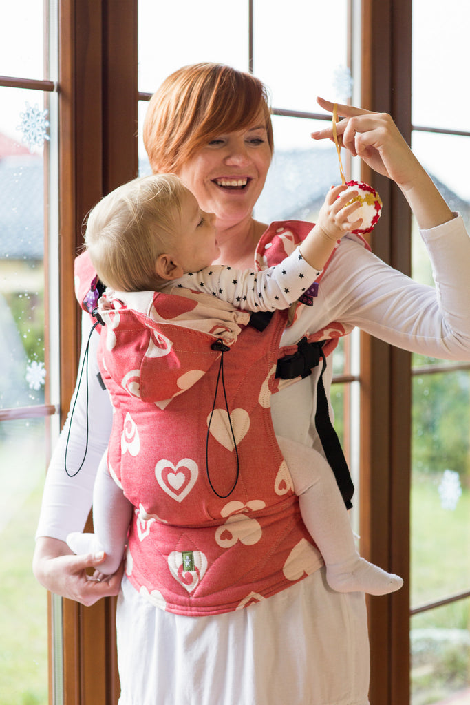 Lenny Lamb Ergonomic Full Buckle Carrier SWEETHEART COAL and CREME (cotton)