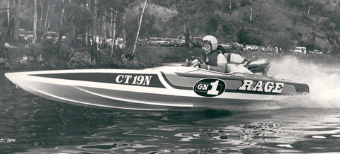 Fred Williams Rage IV Race Boat in Black and White