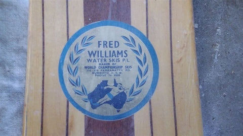 An Old Fred Williams Water Ski with Logo Showing