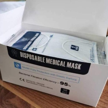 Face Mask 3-Ply Medical Grade (box of 50)  PPE  70.00 STAC First Aid