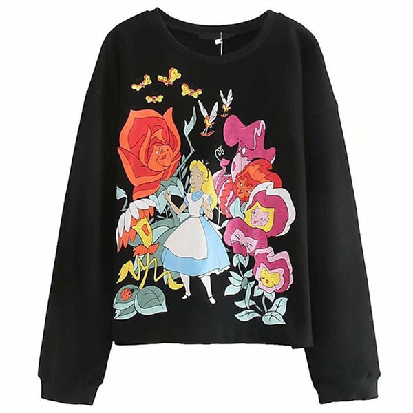 Black Alice in Wonderland Sweatshirt