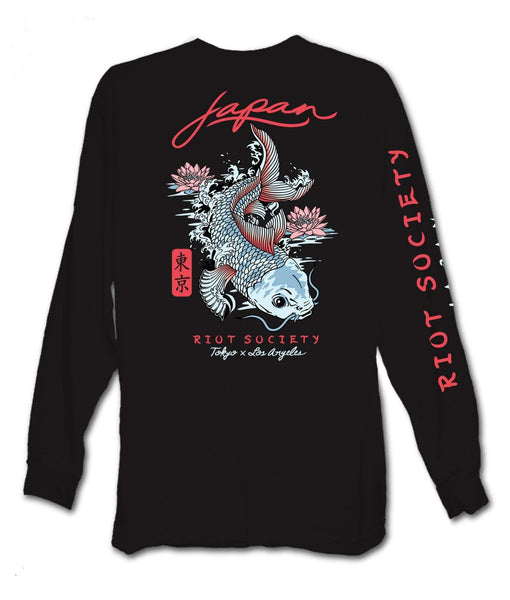 Japan Koi Lotus Mens Long Sleeve T-Shirt - Cult of Geek