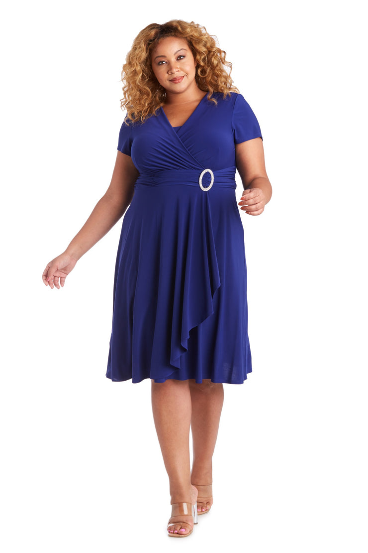 Plus Short-Sleeve Faux-Wrap Dress
