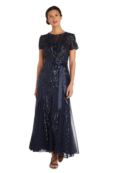 Petite Maxi Dress with All-Over Embellishment and Satin Waist Tie