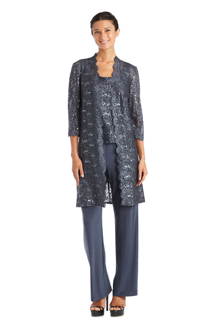 Three-piece Pant Set with Metallic Lace and Long-Line Jacket