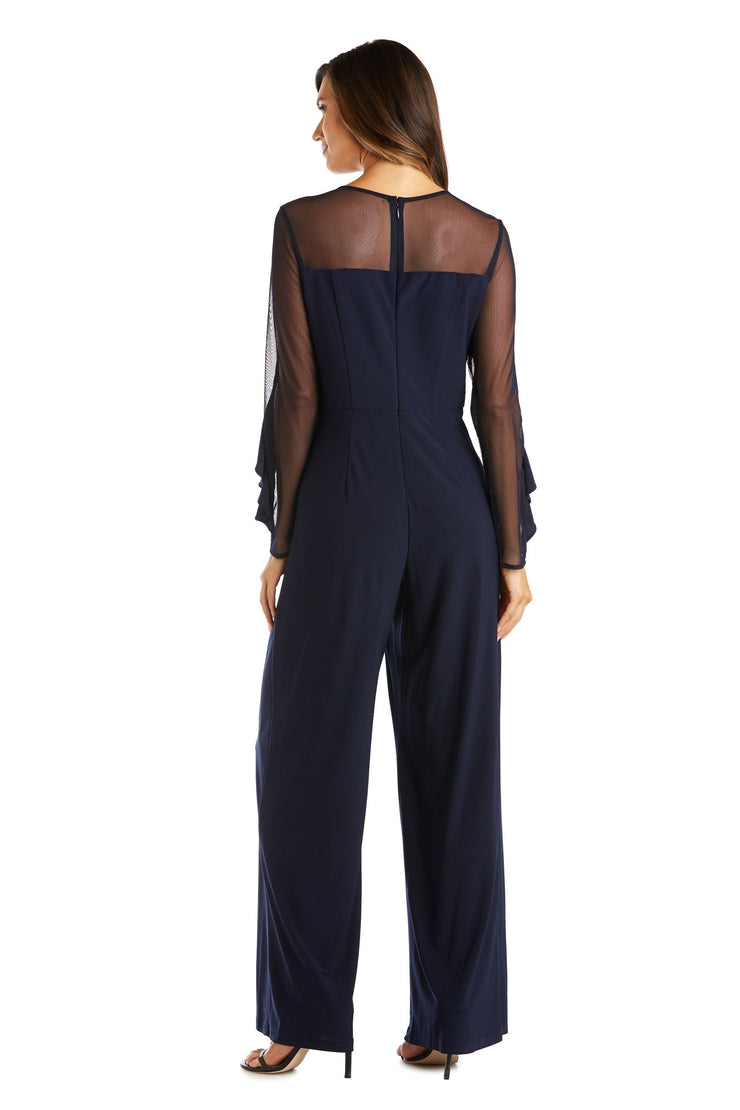 Long-Sleeved Jumpsuit with Sheer Panels and Ruffles