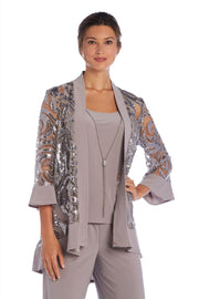 Three Piece Set With Sequin Swing Jacket Over Tank Top