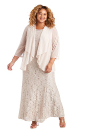 Plus Long Flyaway Sheer Jacket Over Lace Aline Dress With Beaded Necklace