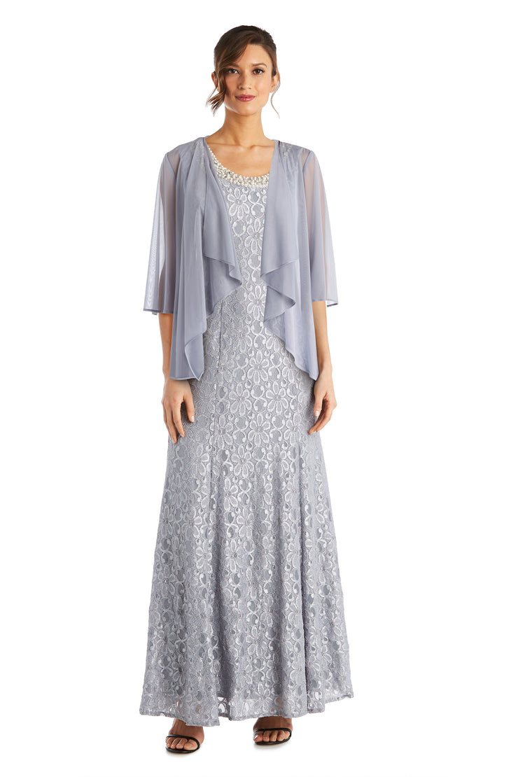 Long Flyaway Sheer Jacket Over Lace Aline Dress With Beaded Necklace