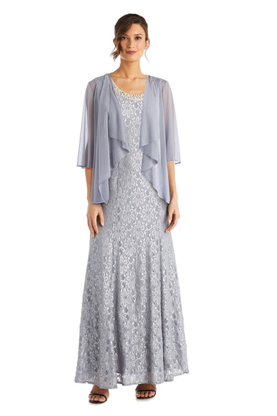 Petite Long Flyaway Sheer Jacket Over Lace Aline Dress With Beaded Necklace