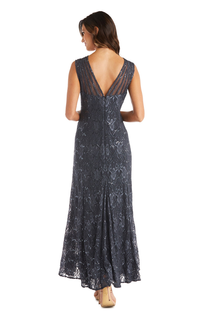 Sequined Lace Full-Length Gown with Sheer Inserts and V-Cut Back