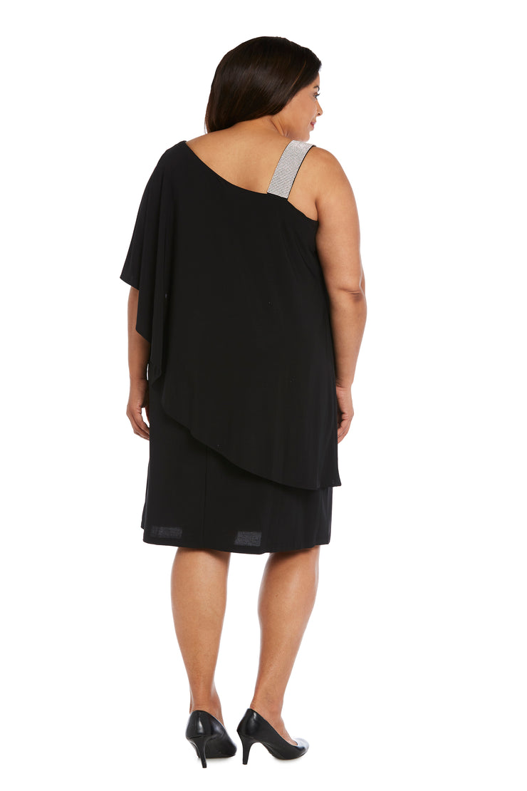 Plus Asymmetric Knee-Length Dress with Draped Shoulder and Diamante Strap