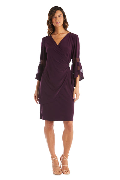 Knee-Length Dress with Bell Sleeves, Wrapover Detail, and Sheer Inserts