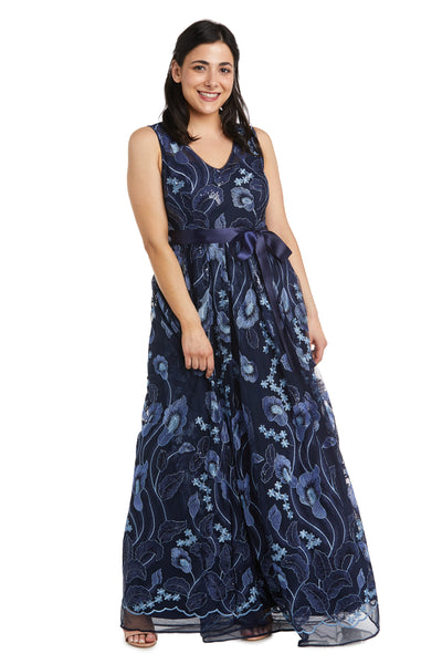 Petite Sleeveless Embroidered Maxi Dress with Sash Tie