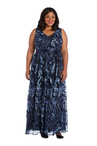 Plus Sleeveless Maxi Dress with Sash Tie and Embroidery