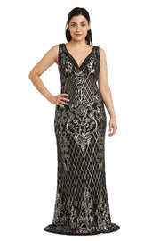 Petite Sequined Maxi Gown with V-Neck and Fitted Silhouette