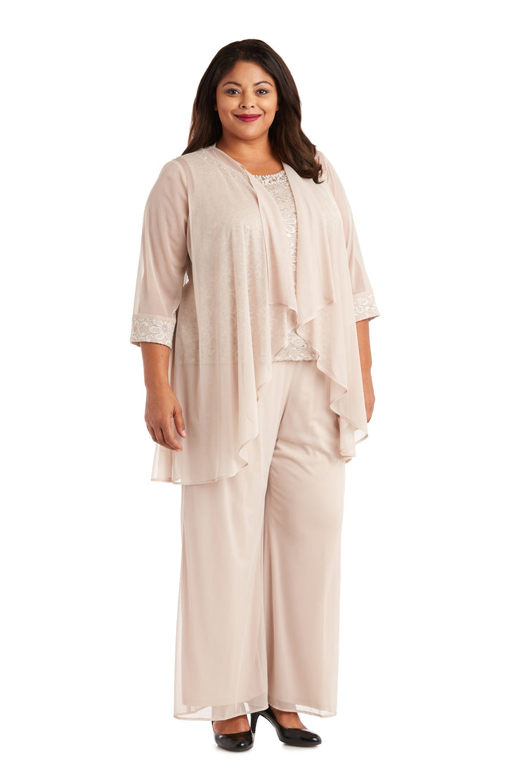 Plus Three-Piece Plus Pant Set with Lace, Pearl Detail and Sheer Cardigan