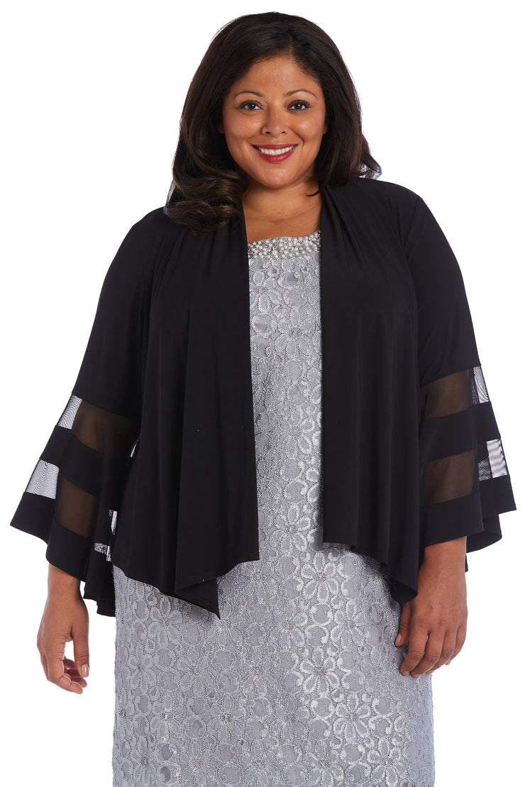 Plus Draped, Open Jacket with Full Sleeves and Sheer Inserts