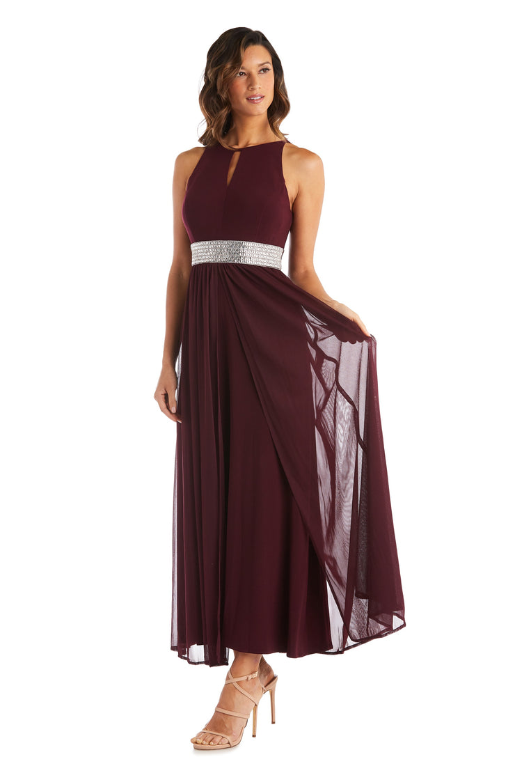 Petite Long Gown with Keyhole Cutout, Halterneck and Flowing Skirt