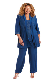 Plus Faux 3-Piece Pant Set with Lace Detail
