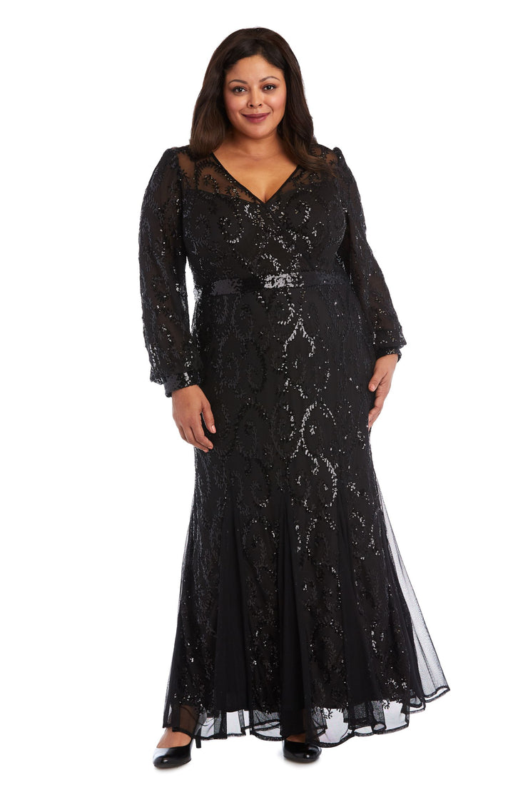 Plus Size Surplice Sequined Gown