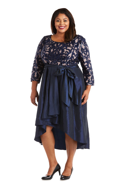 Plus High-Low Dress with Lace and Sequin Top and Satin-Finish Voluminous Skirt