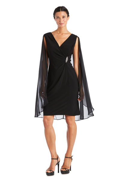Petite Chiffon Duster Cape Surplice Wrap Dress