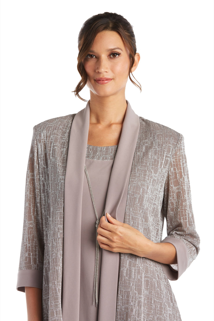 Petite Two-Piece Metallic Knit Jacket Dress