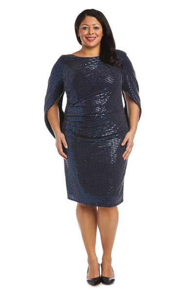 Plus Metallic Draped Back Dress