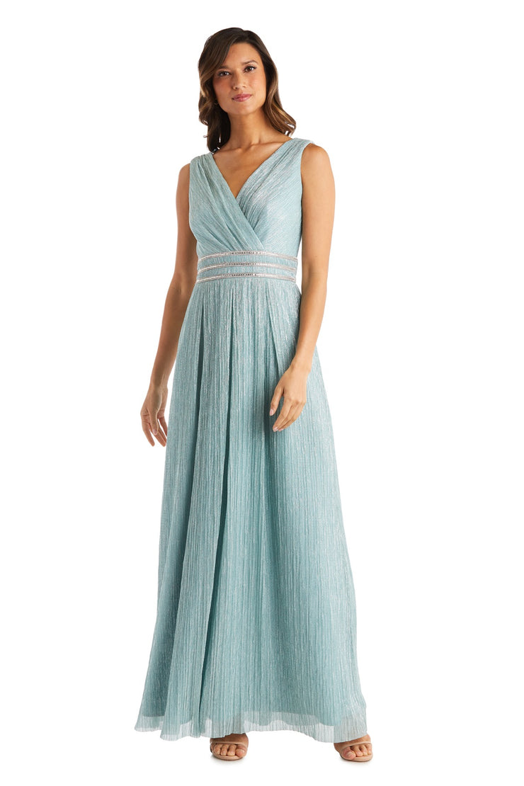 Long Crinkle Pleated Sleeveless Dress With Rhinestone Trim At Set In Waist